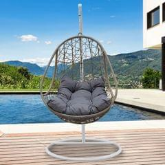 Arcadia Furniture Rocking Egg Chair Swing Lounge Hammock Pod Wicker Curved - Oatmeal and Grey