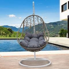 Arcadia Furniture Rocking Egg Chair Swing Lounge Hammock Pod Wicker Curved - Oatmeal and Grey