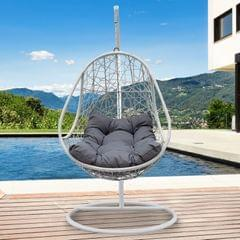 Arcadia Furniture Rocking Egg Chair Swing Lounge Hammock Pod Wicker Curved - Black and Grey
