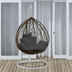Arcadia Furniture Rocking Egg Chair Outdoor Wicker Rattan Patio Garden Tear Drop - Oatmeal and Grey