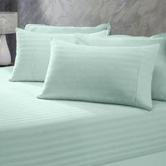 (DOUBLE)Royal Comfort 1200 Thread Count 3 Piece Combo Set 100% Egyptian Cotton Striped  Chambray