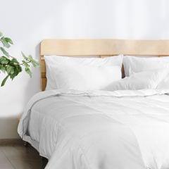 (KING)Royal Comfort Bamboo Blend Quilt 250GSM Luxury Doona Duvet 100% Cotton Cover - King - White