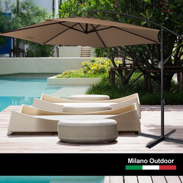 Milano 3M Outdoor Umbrella Cantilever With Protective Cover Patio Garden Shade - Latte