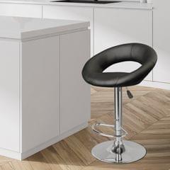 Milano Decor Delilah Height Adjustable Barstool Black Circular Arc Swivel Chrome