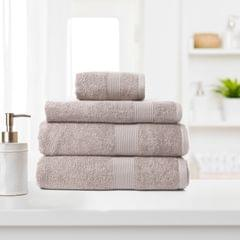 Royal Comfort 4 Piece Cotton Bamboo Towel Set 450GSM Luxurious Absorbent Plush - Champagne