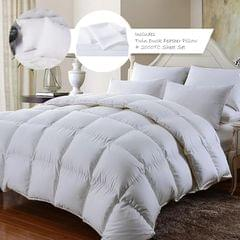 Royal Comfort 350GSM Bamboo Quilt  2000TC Sheet Set And 2 Pack Duck Pillows Set - Double - White