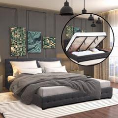 Milano Decor Eden Gas Lift Bed With Headboard Platform Storage Dark Grey Fabric - Single - Dark Grey