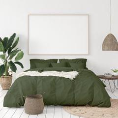 Balmain 1000 Thread Count Hotel Grade Bamboo Cotton Quilt Cover Pillowcases Set - King - Olive