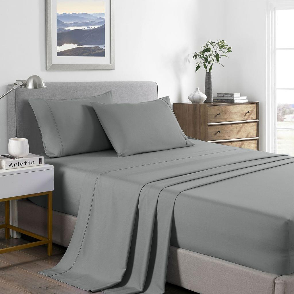 Royal Comfort 2000 Thread Count Bamboo Cooling Sheet Set Ultra Soft Bedding - Double - Mid Grey