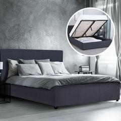 Milano Luxury Gas Lift Bed Frame Base And Headboard With Storage All Sizes - King Single - Charcoal