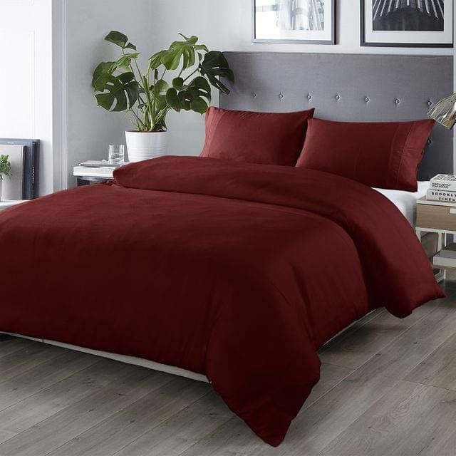 (QUEEN)Royal Comfort Bamboo Blended Quilt Cover Set 1000TC Ultra Soft Luxury Bedding - Queen - Malaga Wine