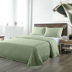 (KING)Royal Comfort Bamboo Blended Sheet & Pillowcases Set 1000TC Ultra Soft Bedding - King - Sage Green