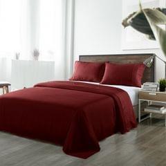 (KING)Royal Comfort Bamboo Blended Sheet & Pillowcases Set 1000TC Ultra Soft Bedding - King - Malaga Wine