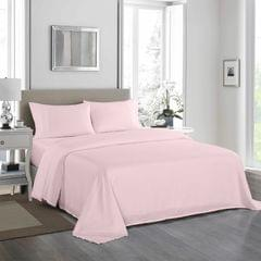 (DOUBLE)Royal Comfort 1200 Thread Count Sheet Set 4 Piece Ultra Soft Satin Weave Finish - Double - Soft Pink