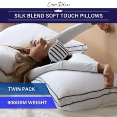 Casa Decor Silk Blend Pillow Hypoallergenic Gusset Cotton Cover Twin Pack