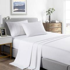 (DOUBLE)Casa Decor 2000 Thread Count Bamboo Cooling Sheet Set Ultra Soft Bedding - Double - White