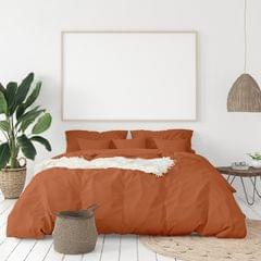 (KING)Balmain 1000 Thread Count Hotel Grade Bamboo Cotton Quilt Cover Pillowcases Set - King - Cinnamon