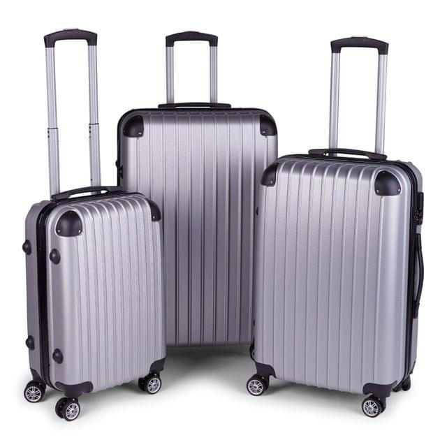 Milano Slim Line Luggage  - Silver 3pc Set