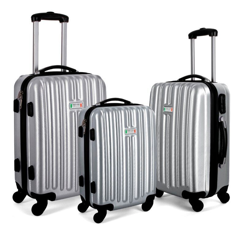 Milano ABS Luxury Shockproof Luggage 3pc Set Silver