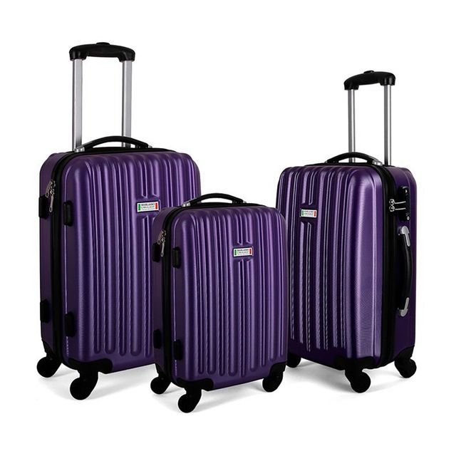 Milano ABS Luxury Shockproof Luggage 3pc Set Purple