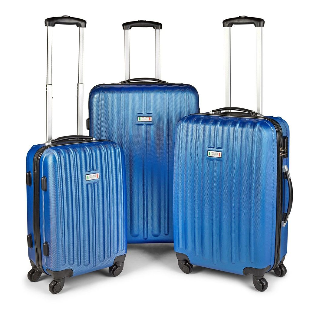 Milano ABS Luxury Shockproof Luggage 3pc Set Blue