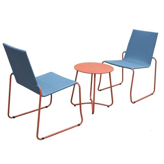 Milano Outdoor Steel Rattan 3 Piece Blue Orange Coffee Set