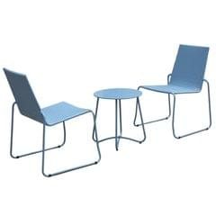Milano Outdoor Steel Rattan 3 Piece Blue Coffee Set