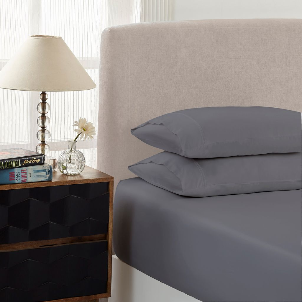 Royal Comfort 1500 Thread count Cotton Blend 3 Piece Fitted sheet Set Double Dusk Grey