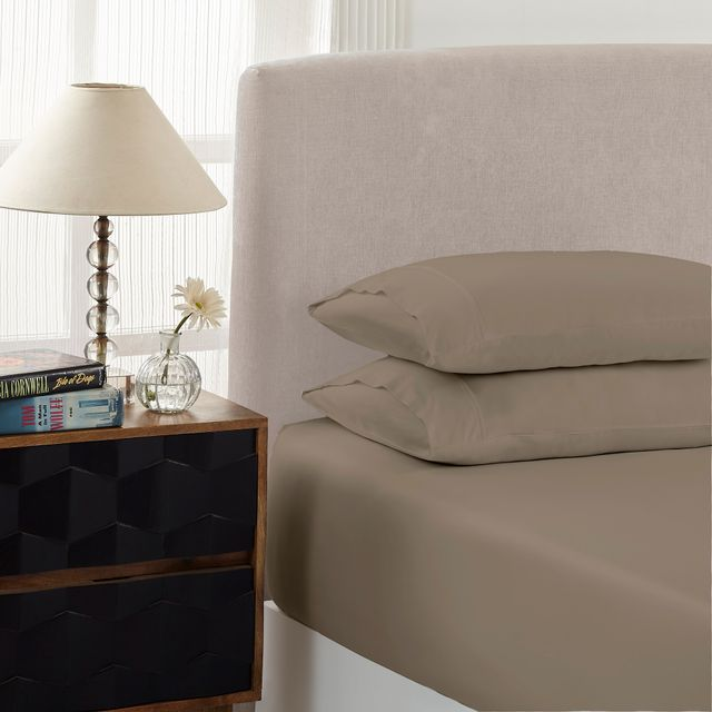 Royal Comfort 1500 Thread count Cotton Blend 3 Piece Fitted sheet Set King Stone