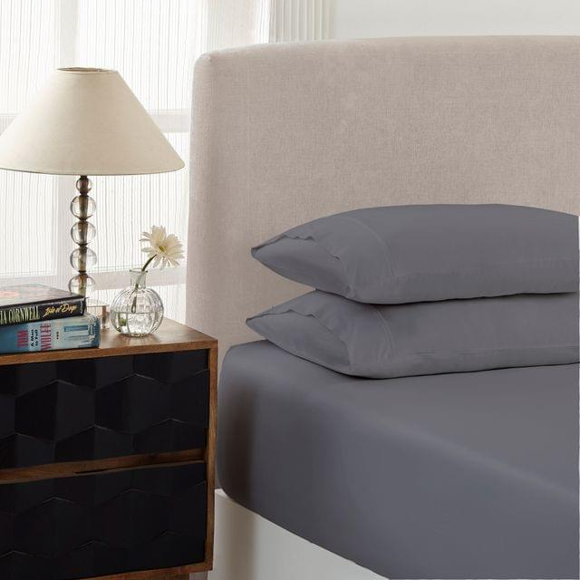 Royal Comfort 1500 Thread count Cotton Blend 3 Piece Fitted sheet Set Queen Dusk Grey