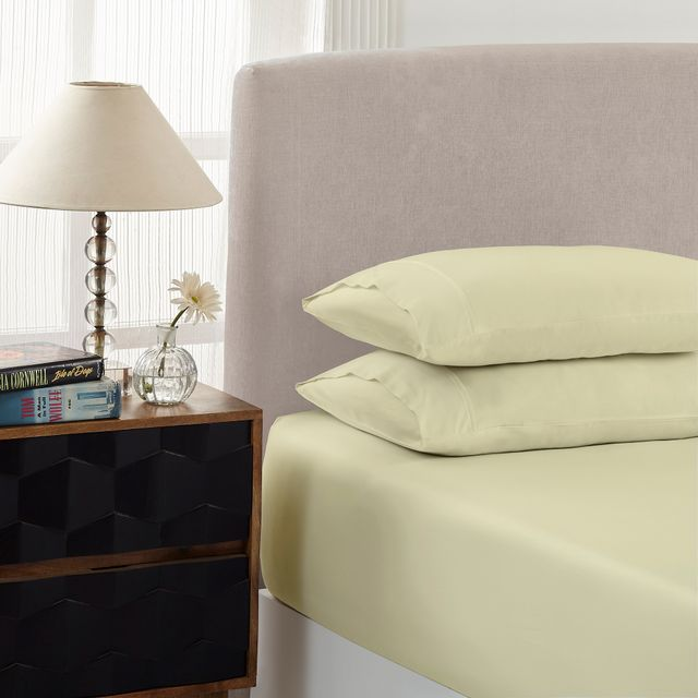 Royal Comfort 1500 Thread count Cotton Blend 3 Piece Fitted sheet Set Single Ivory