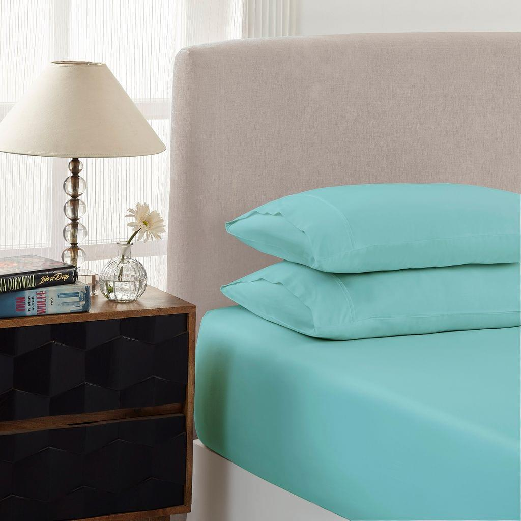 Royal Comfort 1500 Thread count Cotton Blend 3 Piece Fitted sheet Set Single Mist
