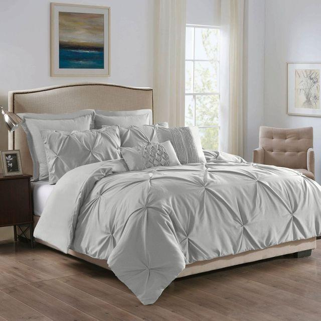 ROYAL COMFORT 7PCS PLEAT COMFORTER SET 150gsm Fill -KING STONE (GREY)