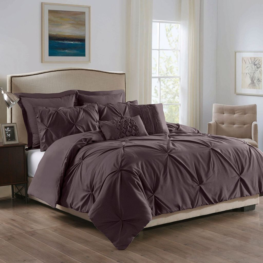 ROYAL COMFORT 7PCS PLEAT COMFORTER SET 150gsm Fill -KING TRUFFLE