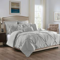 ROYAL COMFORT 7PCS PLEAT COMFORTER SET 150gsm Fill -QUEEN STONE (GREY)