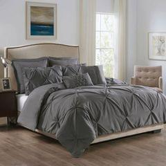 ROYAL COMFORT 7PCS PLEAT COMFORTER SET 150gsm Fill-DOUBLE CHARCOAL