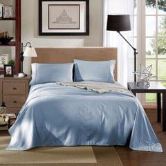 Kensington 1200TC Ultra Soft 100% Egyptian Cotton Sheet Set In Stripe-Mega King - Chambray (Blue)