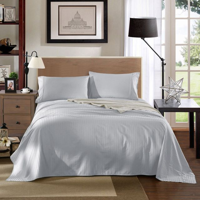 Kensington 1200TC Ultra Soft 100% Egyptian Cotton Sheet set in Stripe Mega Queen- Silver (Grey)