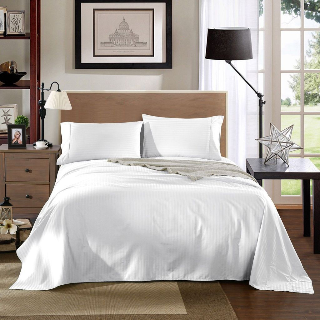 Kensington 1200TC Ultra Soft 100% Egyptian Cotton Sheet set in Stripe Mega Queen - White