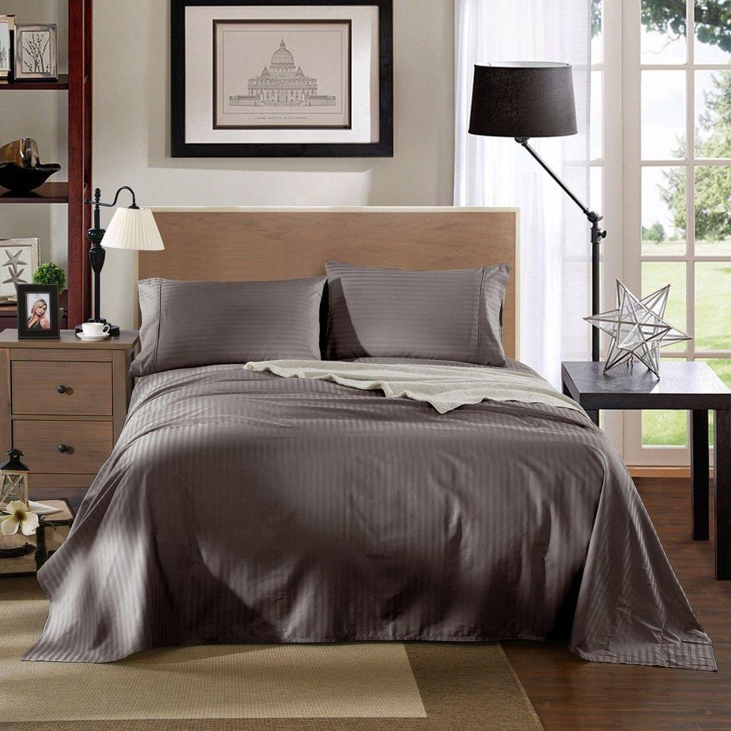 Kensington 1200TC Ultra Soft 100% Egyptian Cotton Sheet Set In Stripe - King - Charcoal