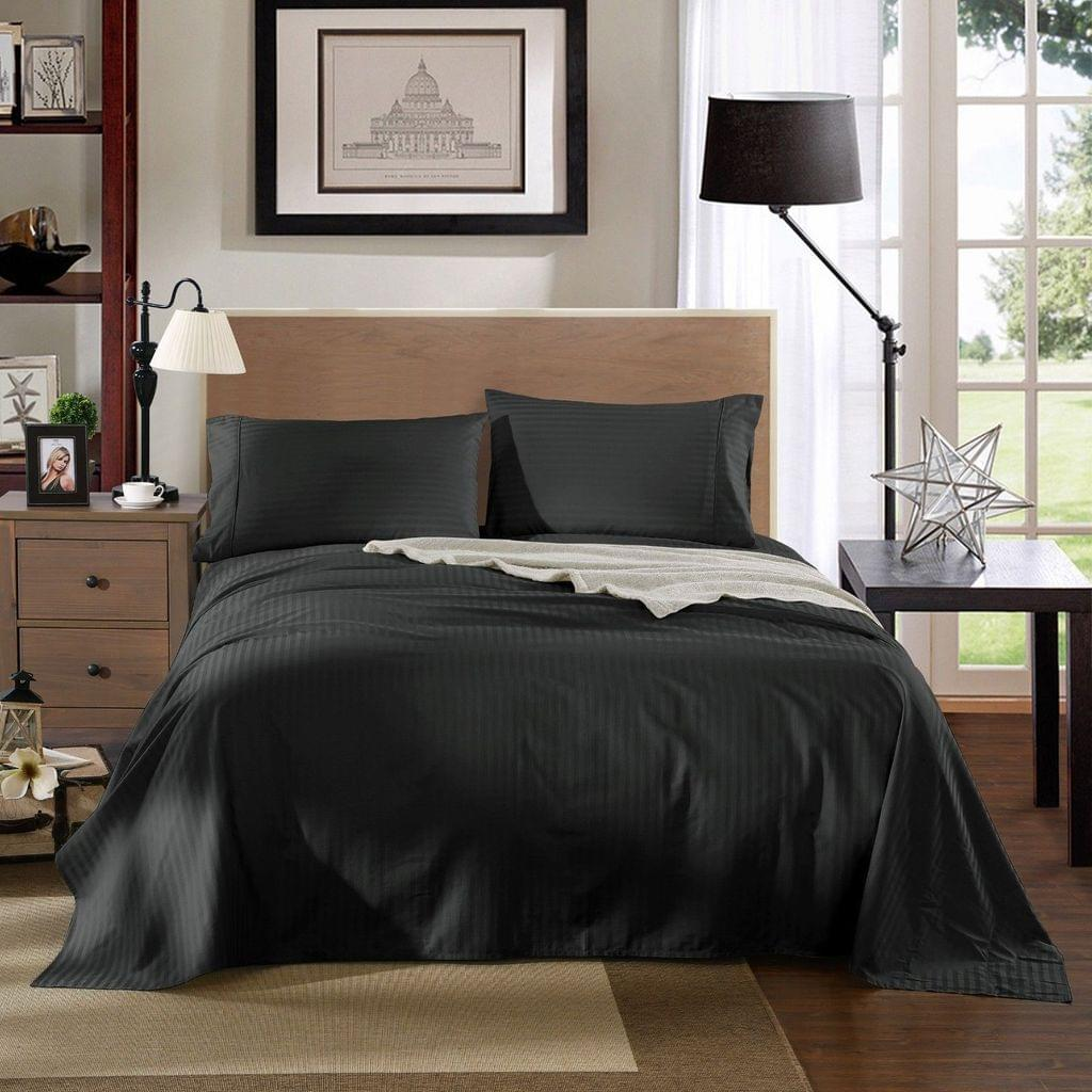 Kensington 1200TC Ultra Soft 100% Egyptian Cotton Sheet Set In Stripe - Queen - Graphite