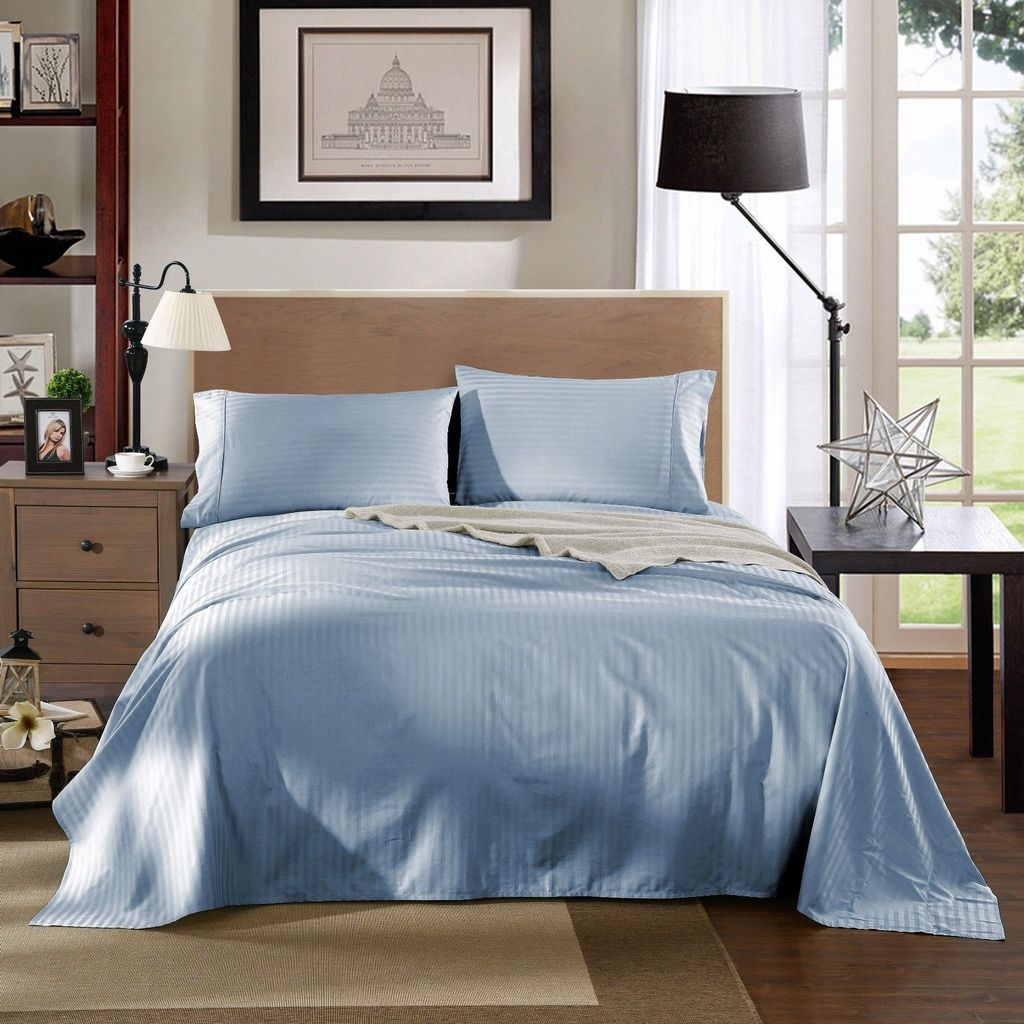 Kensington 1200TC Ultra Soft 100% Egyptian Cotton Sheet Set In Stripe - Queen - Chambray (Blue)