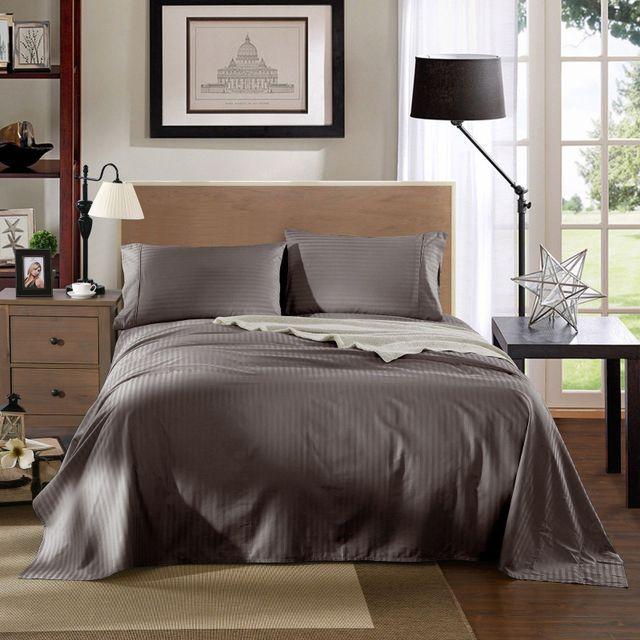 Kensington 1200TC Ultra Soft 100% Egyptian Cotton Sheet Set In Stripe - Queen - Charcoal