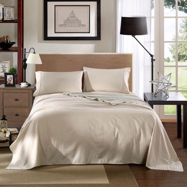 Kensington 1200TC Ultra Soft 100% Egyptian Cotton Sheet set in Stripe Queen - Sand