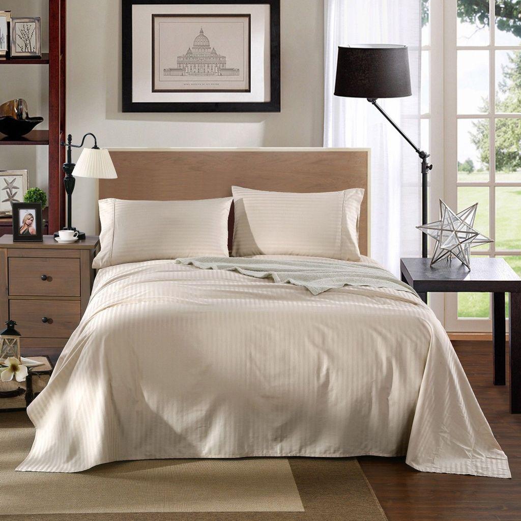 Kensington 1200TC Ultra Soft 100% Egyptian Cotton Sheet set in Stripe Double - Sand