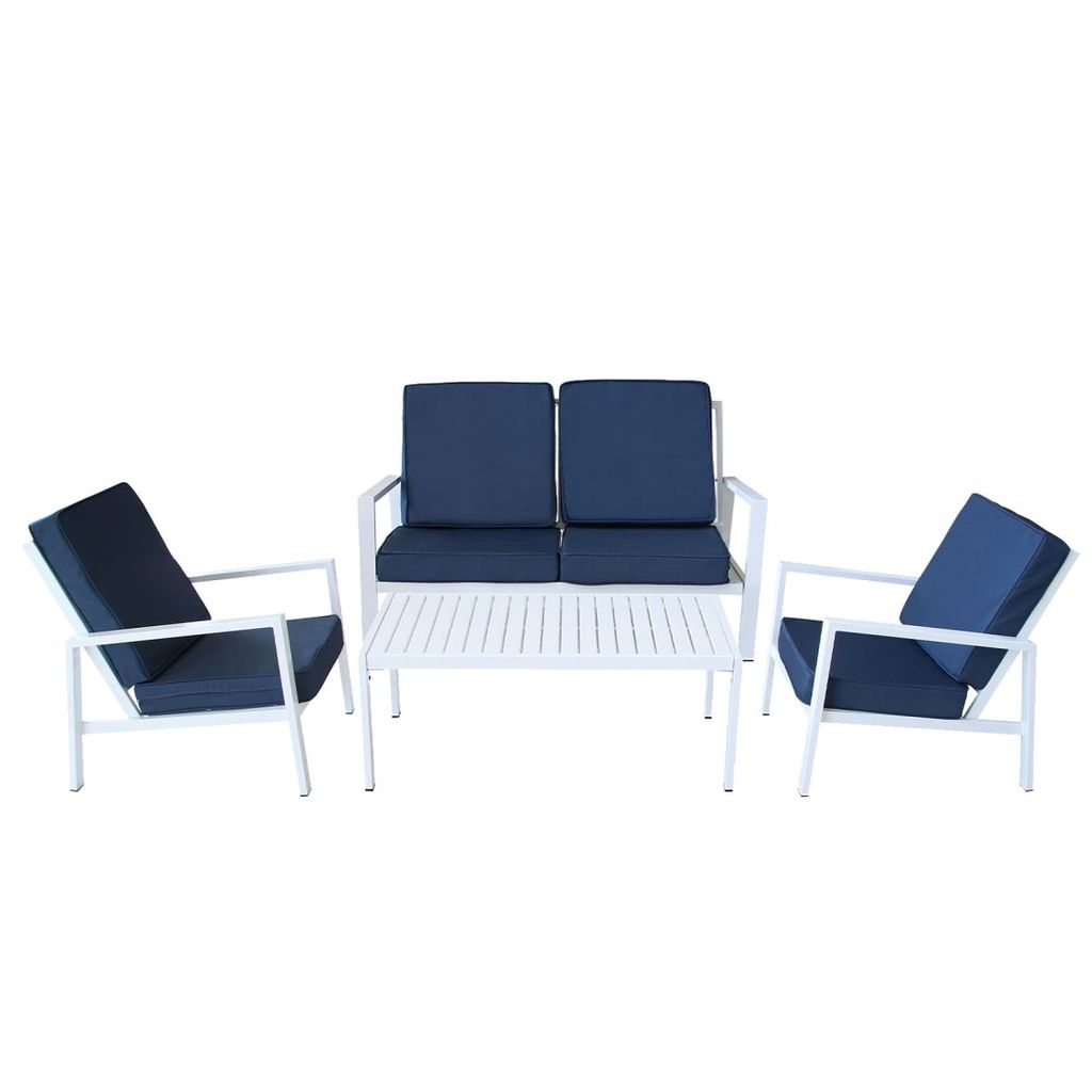 Milano 4 Piece Outdoor Lounge Set - Blue & White