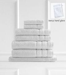 Royal Comfort Eden 600GSM 100% Egyptian Cotton 8 Piece Towel Pack - White