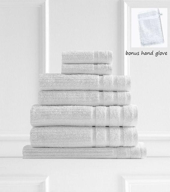 Royal Comfort Eden 600GSM 100% Egyptian Cotton 8 Piece Towel Pack - White