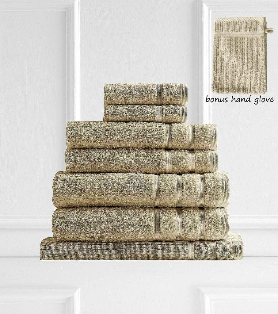 Royal Comfort Eden 600GSM 100% Egyptian Cotton 8 Piece Towel Pack - Beige