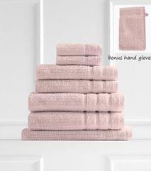 Royal Comfort Eden 600GSM 100% Egyptian Cotton 8 Piece Towel Pack - Blush